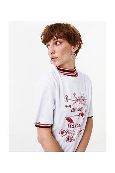 Twist Kadın Beyaz Çiçek Baskılı Tshirt TW6190070067002
