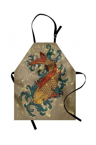 Orange Venue Hayvan Deseni Mutfak Önlüğü Vintage Koi Balığı Desenli Rengirenk