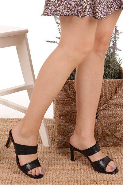 Mio Gusto Kadın Simone Siyah Krokodil Topuklu Terlik