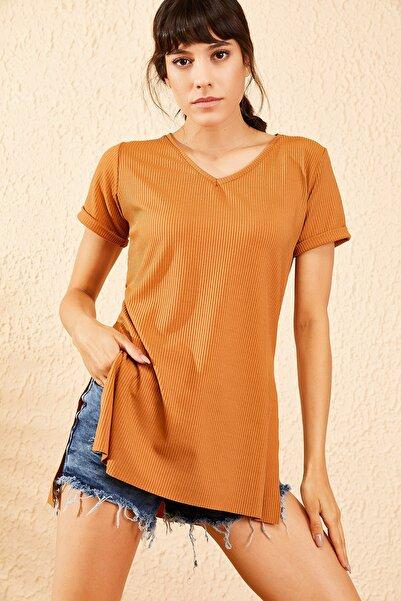 Bianco Lucci Kadın Taba Kol Yan Yırtmaçlı Kol Detay Kaşkorse T-Shirt 10051012