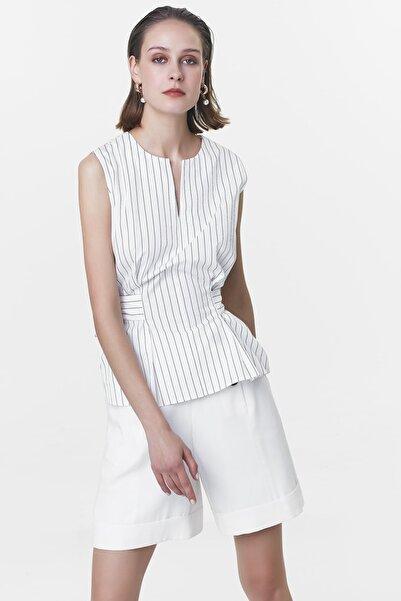 Kadın Ekru Bağlama Detaylı Bluz IS1200006109018