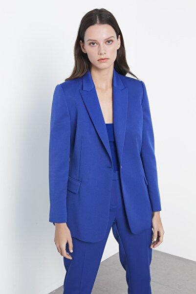 Kadın Mavi Klasik Kesim Ceket IS1200005071089