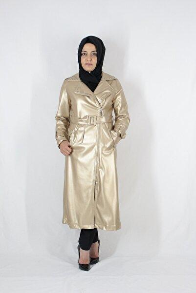 Duha Store Zımbalı Kemerli Ve Deri Trenç Metalik Gold