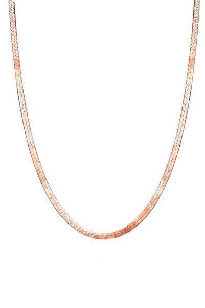 Aykat Yassı Zincir Roz Gümüş Bayan Kolyesi Italyan Rose Renk Kadın Kolye Uc-380