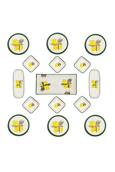ŞURAMUTFAK Limon Kahvaltı Takımı 15 Parça 6 Kişilik Yuvarlak El Boyaması