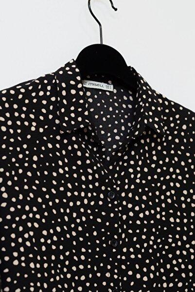 Kadın Siyah Fakir Kol Desenli Gömlek 20Y712007