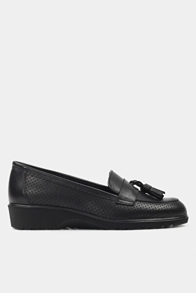 Hotiç Hakiki Deri Siyah Kadın Loafer