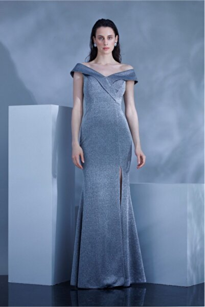 Keikei Omuz Dekolteli Yırtmaç Tasarım Gri Kadın Abiye Elbise