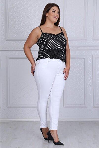 LİKRA Kadın Beyaz Büyük Beden Ön Arka Cep Detay Full Lı Yüksek Bel Kot Pantolon