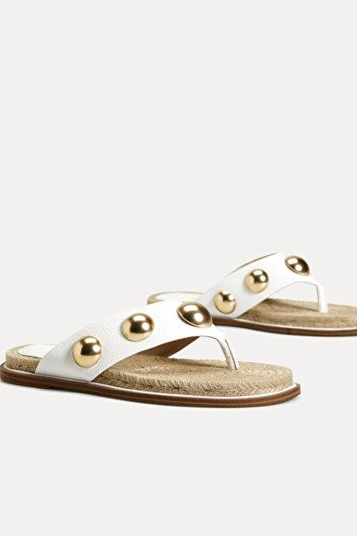 Oysho Kadın Beyaz Metal Aplikeli Sandalet