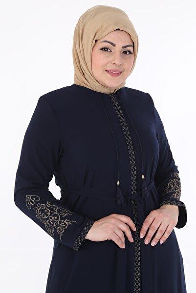Jamila Gizli Fermuarlı Ferace-lacivert