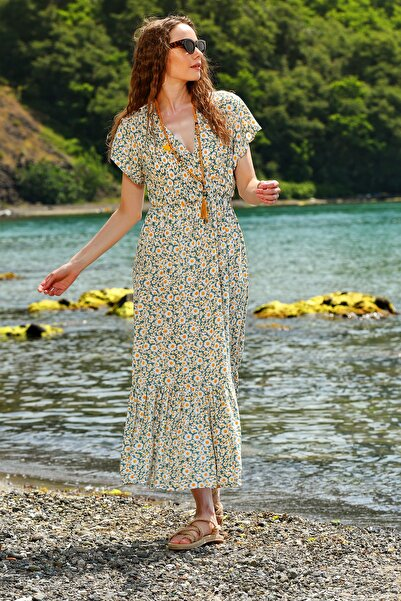 Kadın Mint Çiçek Desenli Kruvaze Maxı Boy Elbise ALC-X4373
