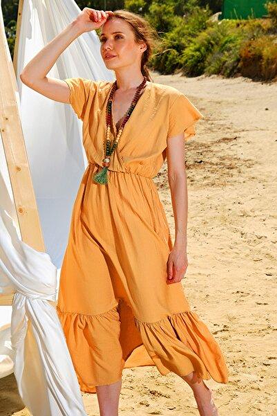 Trend Alaçatı Stili Kadın Camel Beli Lastikli Kruvaze Maxı Boy Elbise ALC-X4372