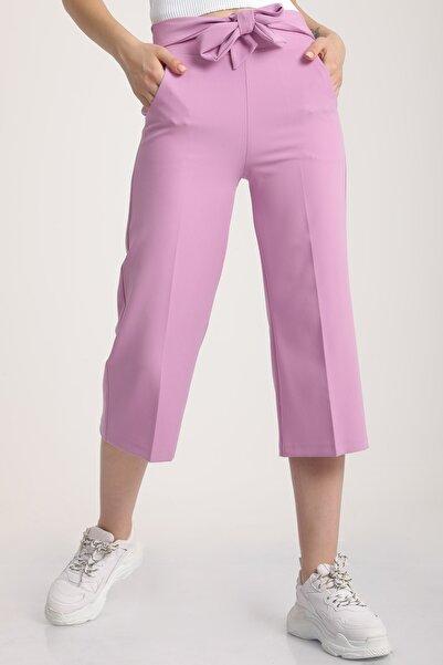 MD trend Kadın Lila Bel Lastikli Bağlamalı Kısa Pantolon Mdt5707