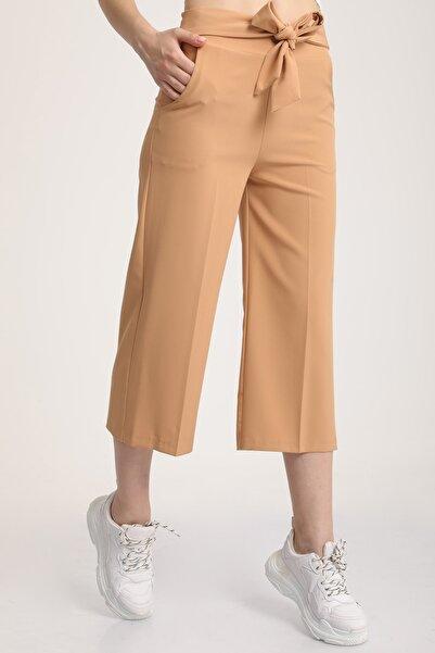 MD trend Kadın Camel Bel Lastikli Bağlamalı Kısa Pantolon Mdt5707