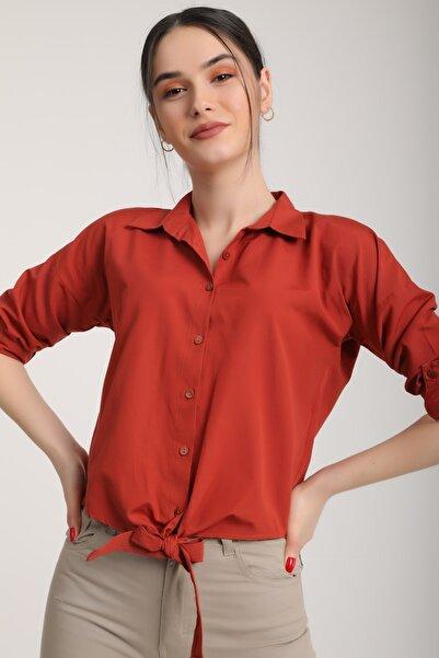 MD trend Kadın Kiremit Bel Bağlamalı Gömlek Mdt5905