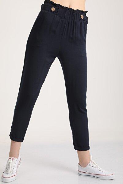 MD trend Kadın Lacivert Bel Lastikli Dar Paça Pantolon Mdt6186