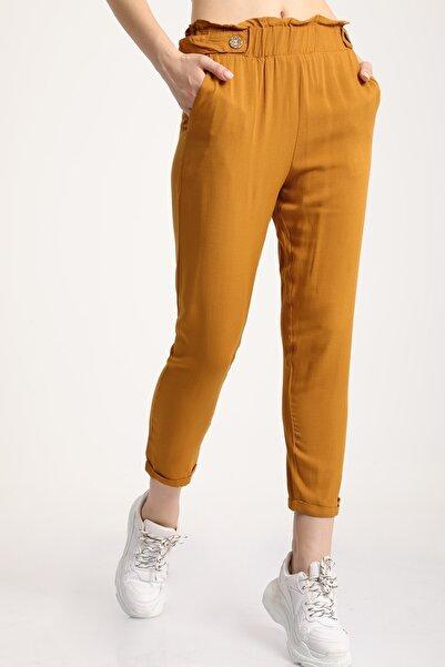 MD trend Kadın Taba Bel Lastikli Dar Paça Pantolon Mdt6186