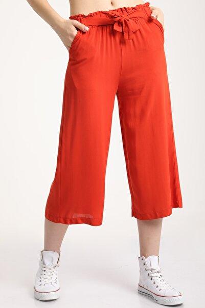 MD trend Kadın Kiremit Bel Lastikli Bağlamalı Kısa Pantolon Mdt5979