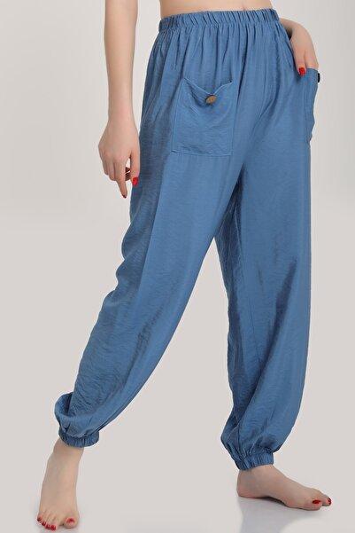 MD trend Kadın Indigo Bel Lastikli Salaş Pantolon Mdt6144