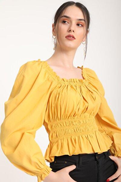 MD trend Kadın Hardal Omuz Bel Lastikli Bluz Mdt5872