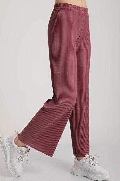 MD trend Kadın Gül Kurusu Piliseli Bel Lastikli Salaş Pantolon Mdt5792