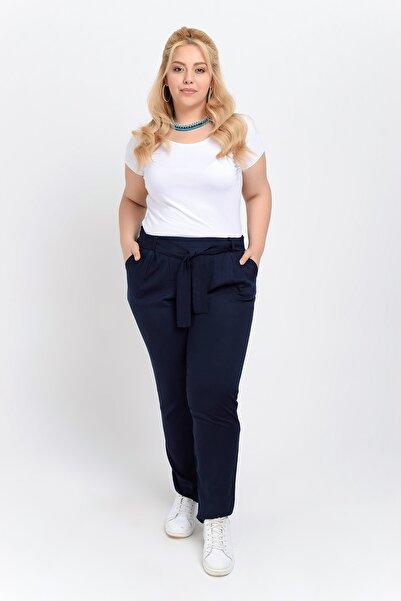 Big Free Kadın Lacivert Beli Lastik Kuşaklı Cepli Dokuma Şalvar Pantolon Tb20Yb011115