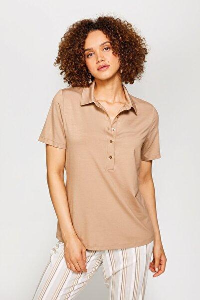 Faik Sönmez Kadın Camel Gömlek Yaka T-Shirt 60029 U60029