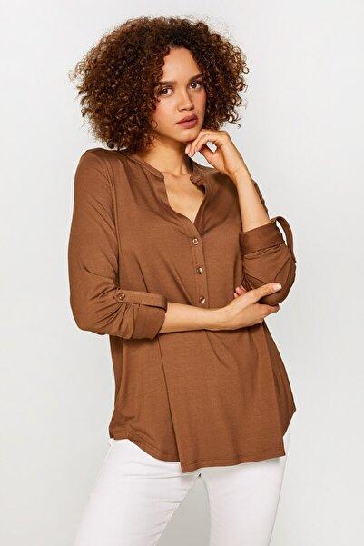 Faik Sönmez Kadın Latte Kaçık Yaka Uzun Kollu T-Shirt 60023 U60023