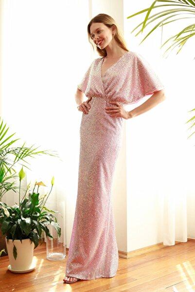 TRENDYOLMİLLA Pudra Payetli Abiye & Mezuniyet Elbisesi TPRSS20AE0109