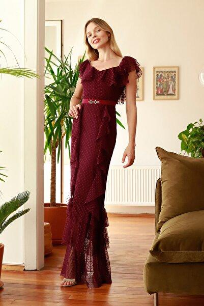 Mürdüm Fırfır Detaylı  Abiye & Mezuniyet Elbisesi TPRSS20AE0207