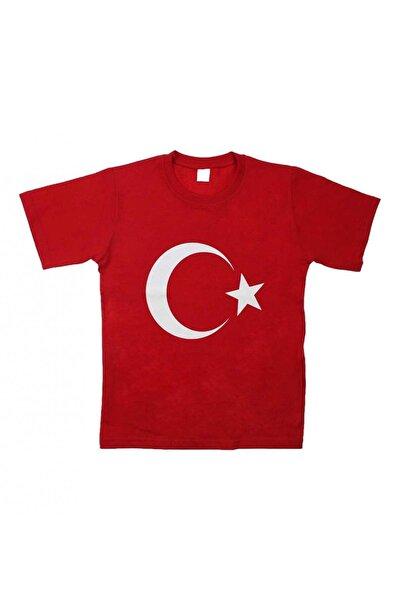 Modakids Kırmızı Bayrak Baskılı S-m-l-xl Tişört
