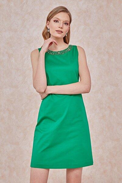 Journey Elbise, Yaka Üstü Taş Işleme Detaylı,sırt U Dekolte, Kolsuz