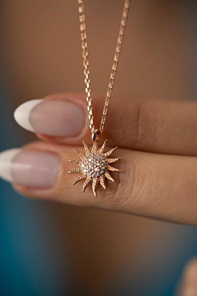 Güneş Model Rose Kaplama Gümüş Italyan Kolye