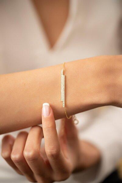 İzla Design Çift Çubuk Model Altın Kaplama Gümüş Italyan Bileklik