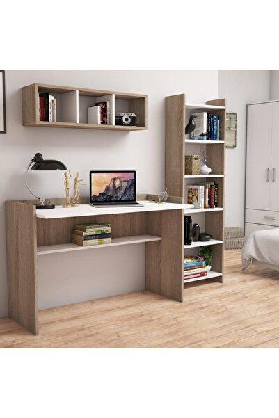 Bimossa U7020 Hürrem Kitaplık Ve Raflı Çalışma Masası Ceviz/beyaz