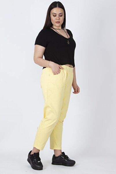 Şans Kadın Sarı Bel Kısmı Lastik Detaylı Pamuklu Kumaş 5 Cepli Spor Pantolon 65N16362