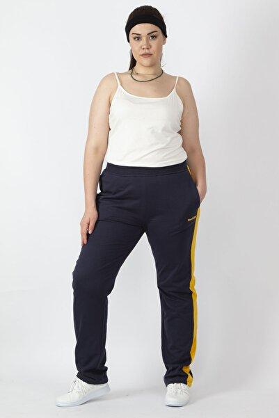 Şans Kadın Lacivert Tek Yanı Şeritli Bel Kısmı Lastikli Cepli Spor Pantolon 65N16432