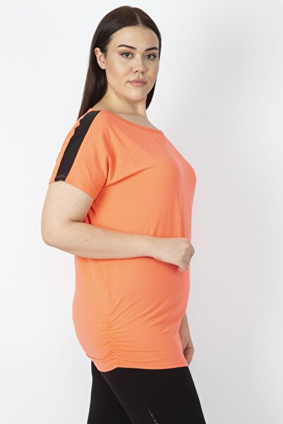 Şans Kadın Oranj Omuz Ve Yan Detaylı Bluz 65N16521