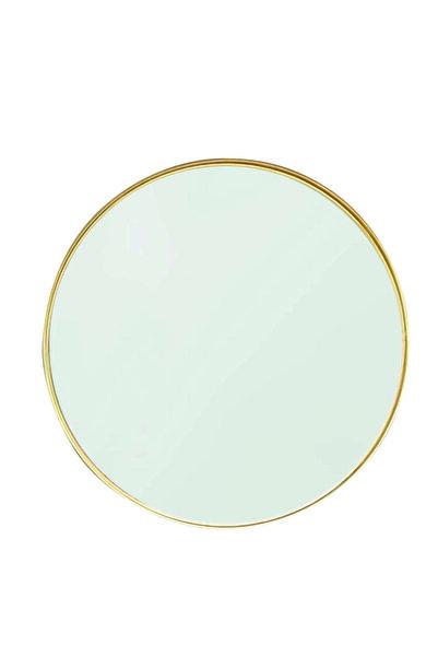 Otto Asu Metalik Sarı Altın Rengi Yuvarlak Çerçeveli Ayna 70 cm
