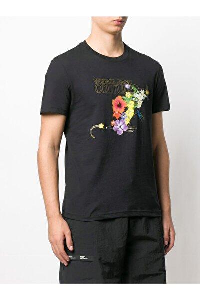 Versace Çiçek Desenli Sıfır Yaka Lacivert Erkek T-shirt