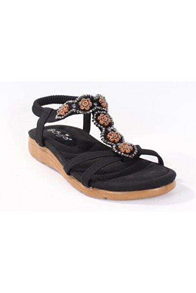 Guja 20y150-13 Siyah Taşlı Ortopedik Sandalet