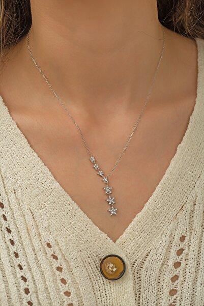 Papatya Silver Kayan Yıldızlar Kolye Nano Zirkon Taşlı Rodyum Kaplama Gümüş