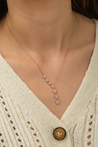 Papatya Silver Kayan Yıldızlar Kolye Nano Zirkon Taşlı Rose Altın Kaplama Gümüş