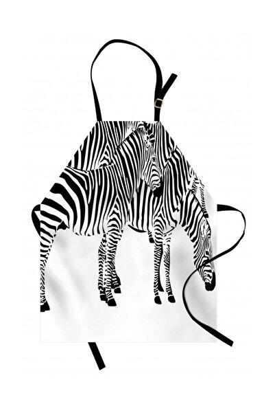 Orange Venue Hayvan Deseni Mutfak Önlüğü Zebra Sürüsü Desenli