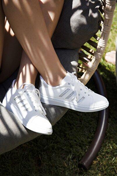 Du Jour Paris Beyaz Gümüş Kadın Spor Ayakkabı 4000-19-101001