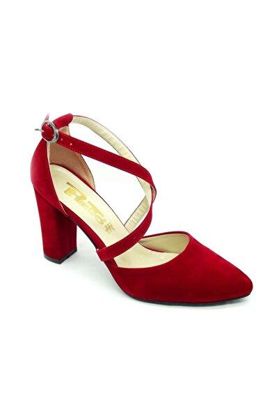 PUNTO 462028 Kadın Kalın Topık Kırmızı Suet Ayakkabı