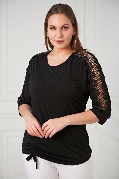 RMG Kadın Omuz Dantel Detaylı Büyük Beden Siyah Bluz