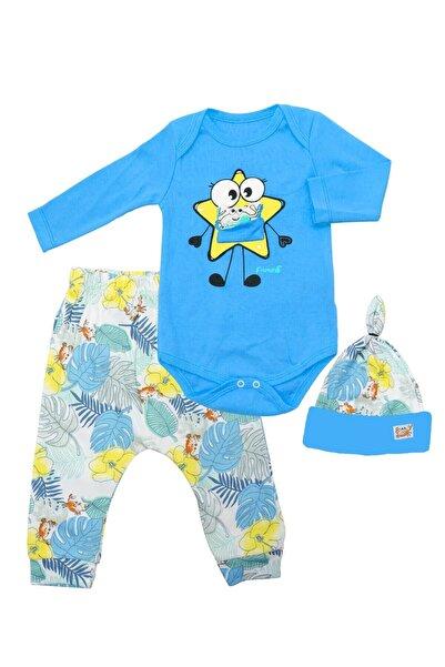 Miniworld Tropikal Mavi Şapkalı 3 Lü Bebek Takımı K3251