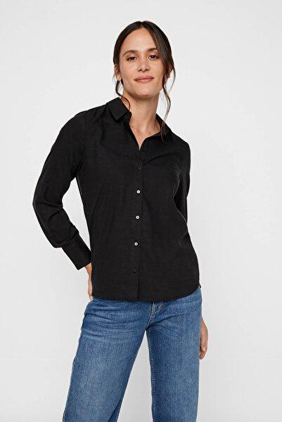 Vero Moda Kadın Siyah Siyah Uzun Kollu Lyocell Gömlek 10218724 VMTANYA